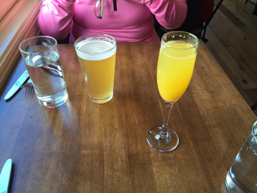 Post-race mimosa and beer.