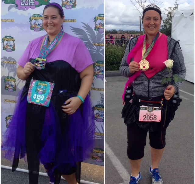 First 5K on the left - first half marathon on the right!