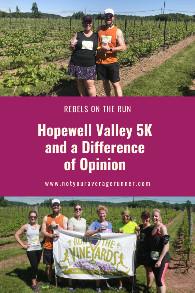 In this post I'm sharing why it's OK to have different goals than someone else. What's important is that working toward your goals is making you happy. | Rebels on the Run | #running #5K #goals | https://notyouravereagerunner.com/hopewell-valley-5k-different-goals